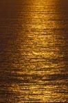 Meersoberfläche leuchtet im Abendlicht